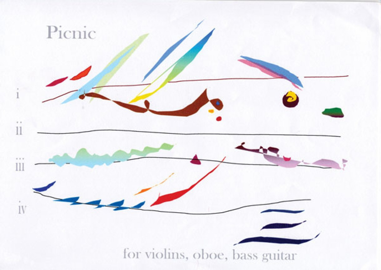 Cilla McQueen 'Picnic' for violins, oboe and bass guitar (2006)